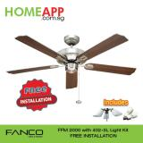 Sale Fanco Ffm 2000 52 Inch Ceiling Fan With 402 3L Light Kit And Free Installation Antique Brass Fanco Original
