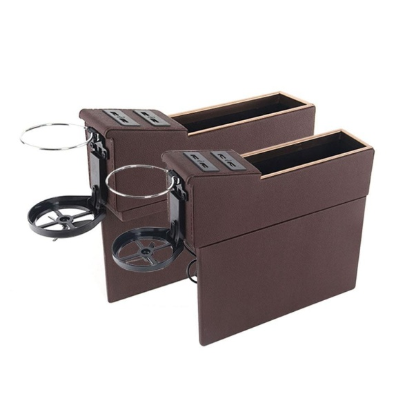 foorvof Car Pocket Organizer Seat Console Filler Side with Foldable Cup Holder and 4 USB Charge Port - intl Singapore