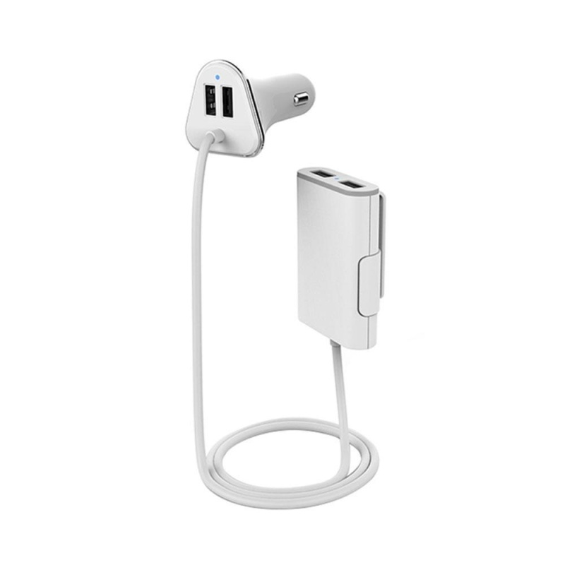 jaywog High Capacity 1.8M Cable 4 USB Ports 9.6A Hub Fireproofing Car USB Charger Car Auto Charging Adapter - intl Singapore