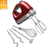 Price Compare Kitchenaid 9 Speed Hand Mixer 5Khm9212Ber Empire Red With Accessories Uk Plug