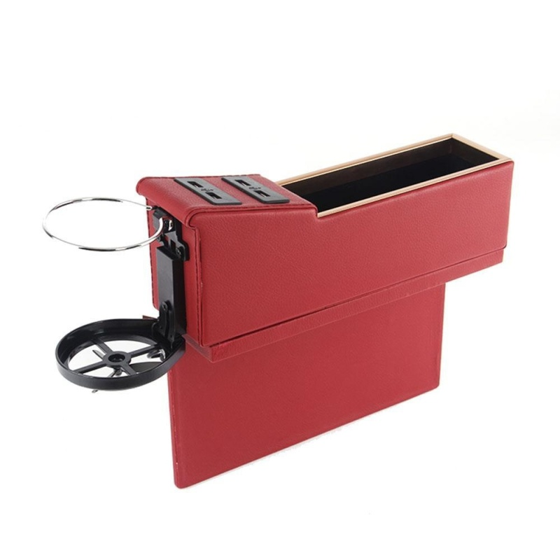 lanyasy Car Pocket Organizer Seat Console Filler Side with Foldable Cup Holder and 4 USB Charge Port - intl Singapore