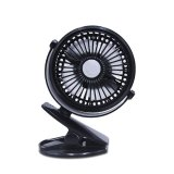 Leegoal Usb Mini Desk Fan Rechargeable And Adjustable Mini Clip Table Fan With 3 Speed Button Control For Car Baby Stroller Office Home Camping Black Intl Free Shipping
