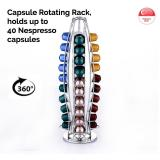 Best Offer Nespresso Capsule Rotating Rack Holds Up To 40 Nespresso Capsules Storage Display Holder Coffee Pod Modern Slim Design Durability Quality