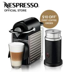 Nespresso Pixie Coffee Machine Titan Aeroccino Milk Frother Bundle Shop