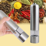 New Electric Automatic Stainless Steel Kitchen Food Preparation Salt Pepper Spice Mill Grinder Silver Best Price