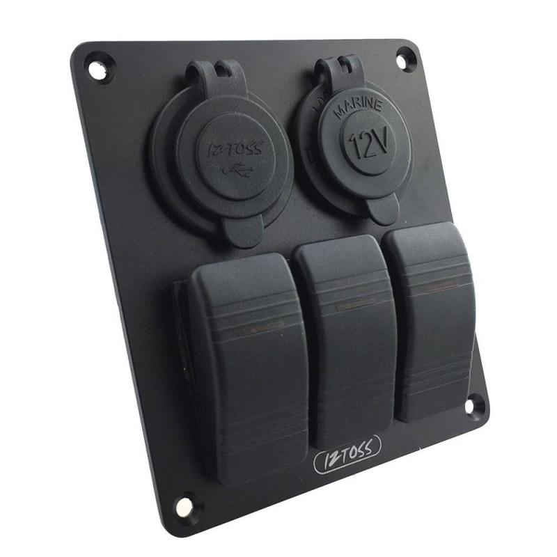yiokmty 勿动!! 3 Gang / 4 Gang/ 5 Gang Circuit LED Rocker Switch Panel for Car Marine Boat 3.1A Dual USB Waterproof Power Charger Socket DIY Refit Kit - intl Singapore