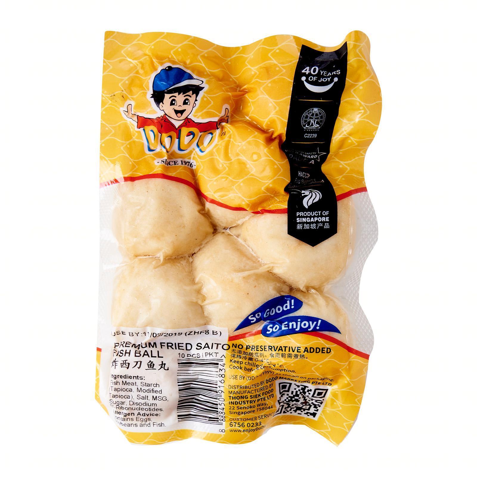 Dodo Premium Fried Saito Fishball - Chilled By Redmart.