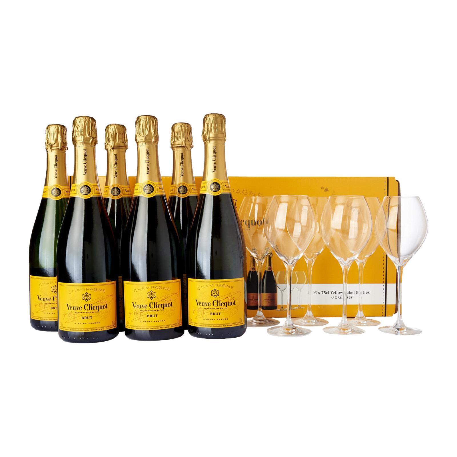Veuve Clicquot Yellow Label Champagne - Case + 6 Free Glasses