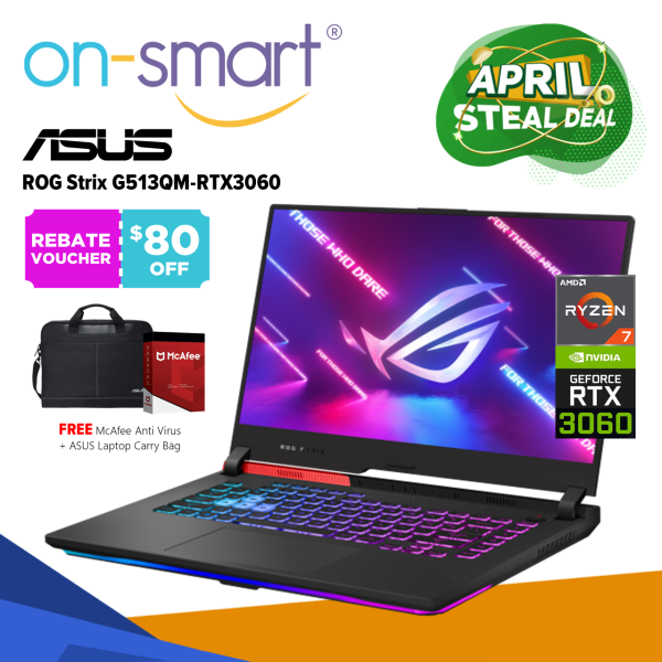 【Next Day Delivery】ASUS ROG Strix G15 G513QM-RTX3060 | AMD Ryzen 7 5800H Processor | 16GB RAM | 1TB PCIe SSD | NVIDIA GeForce RTX 3060 | Windows 10 Home | 2 Years International Warranty