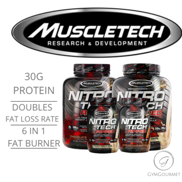 Buy NitroTech Ripped, Ultimate Protein + Weight Loss Formula All Flavours 2/4 lbs (1.81 kg) Gymgourmet Singapore