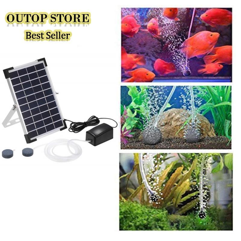 OUTOP 10V 5W Solar Powered Oxygenator Fish Aquarium Pond Water Oxygen Pump Air Pump BSV-AP006