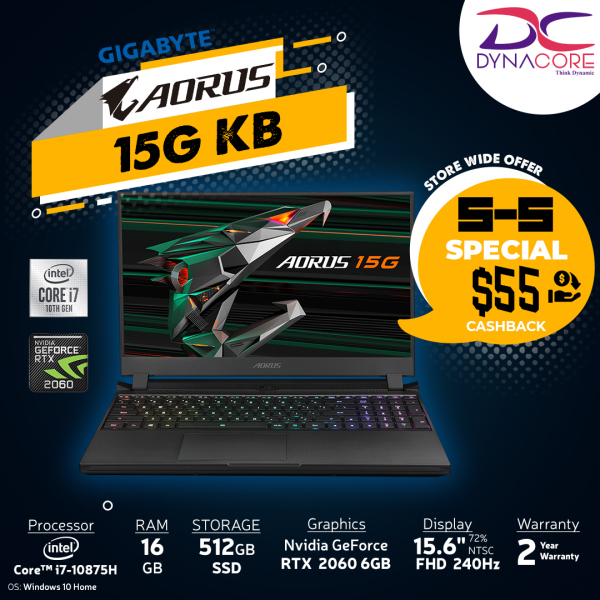 【DELIVERY IN 24 HOURS】DYNACORE - AORUS 15G KB - 8SG2130MH GRAY  (i7-10875H/16GB DDR4 2933 (8GBx2)/GeForce RTX 2060 GDDR6 6GB/512GB M.2 PCIE SSD/15.6inch Thin Bezel 240Hz FHD IGZO Display/WINDOWS 10 HOME/ GRAY Color