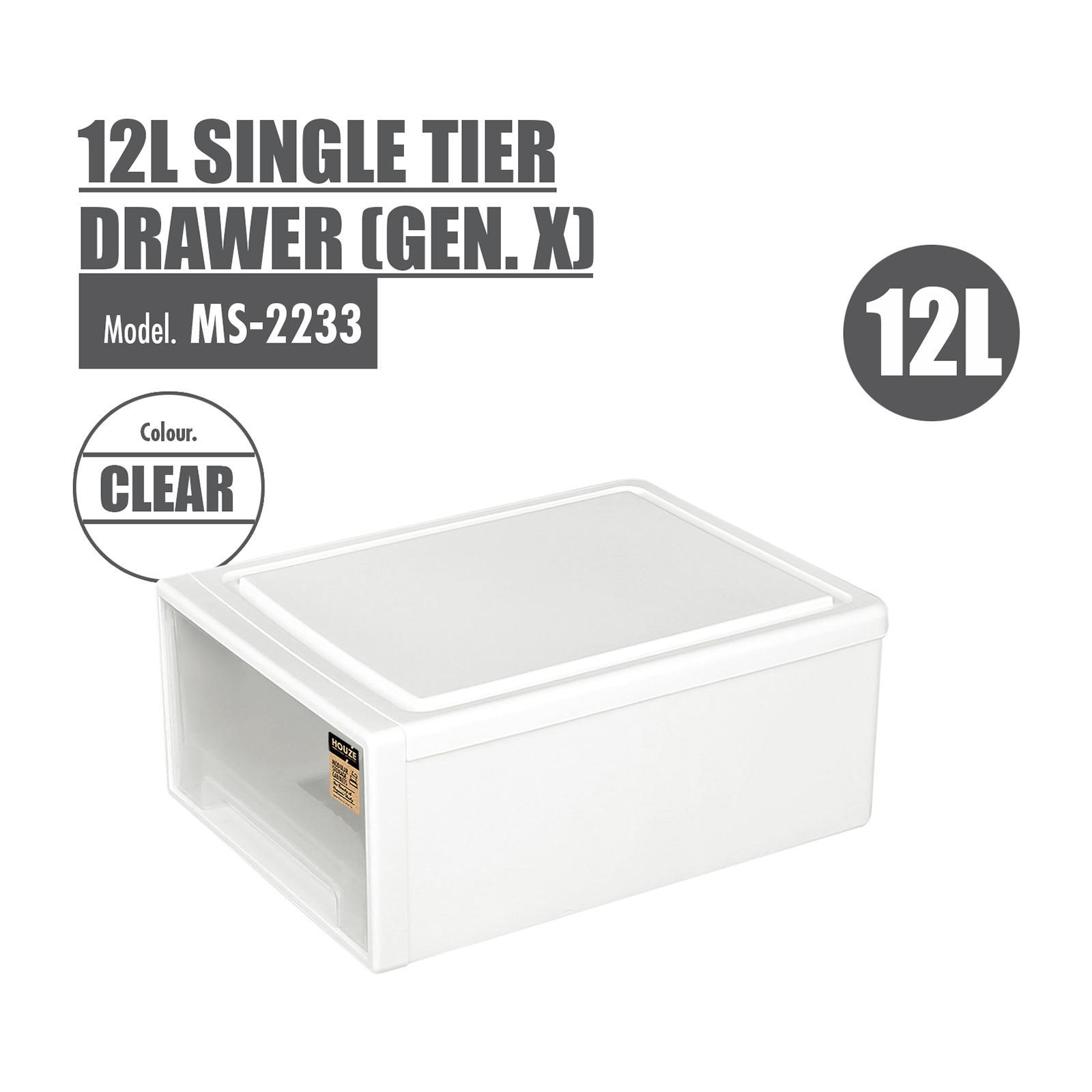 HOUZE - 12L Single Tier Drawer - Gen. X -Dim: 37x25.5x14cm - MS-2233-CLEAR