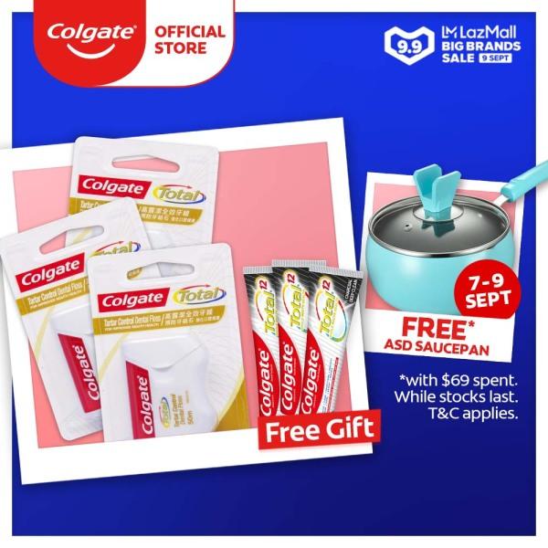 Buy [9.9] Colgate Dental Floss with Tartar Control (50m) [Bundle of 3] + FREE 3 Colgate Total Charcoal Deep Clean Antibacterial Toothpaste 18g (1107587-3 +FOC 61008385-3) Singapore