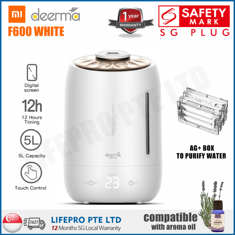 DEERMA F600 ULTRASONIC AIR HUMIDIFIER/5L LARGE CAPACITY/AROMA DIFFUSER/SG Plug/ Up to 12 Months SG Warranty Singapore