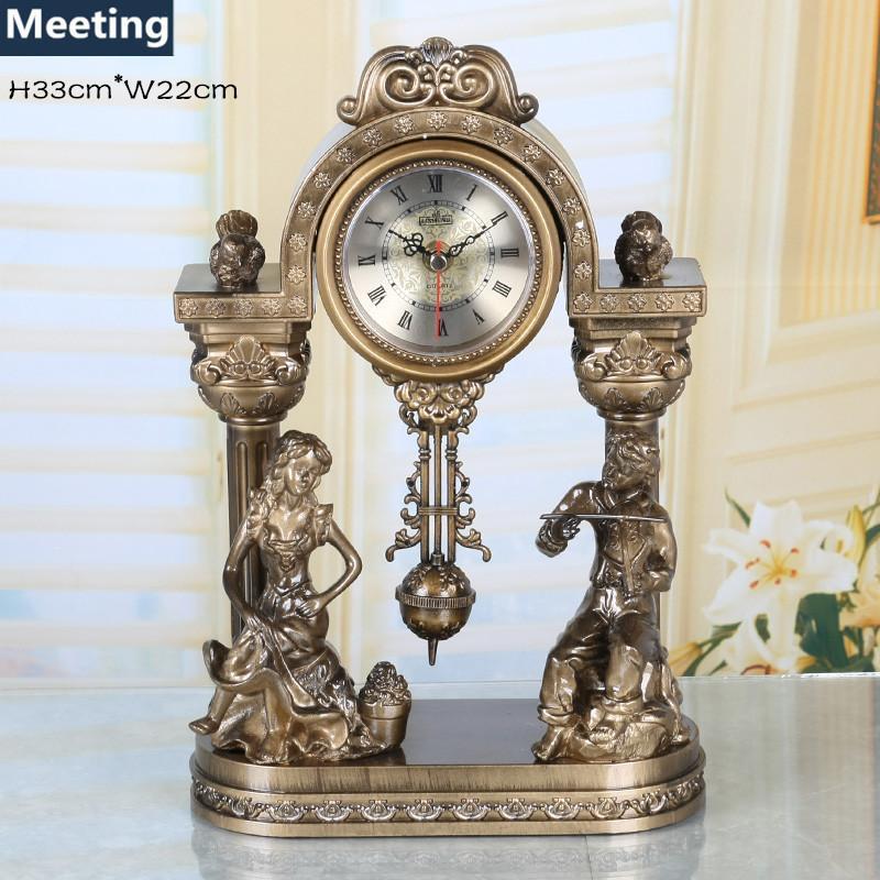 European Creative Wall Clock Fashion Silent Retro Pendulum Clock Home Decoration Clock Family Gifts(H33cm*W22cm)