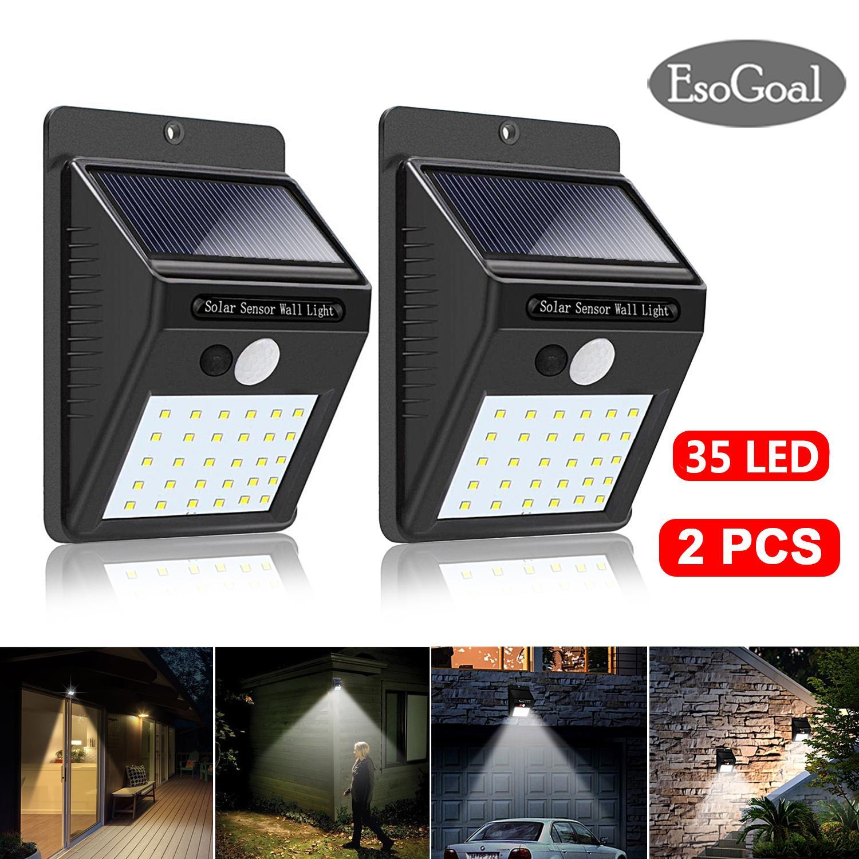 EsoGoal 35 LED Solar Lights Outdoor Lighting Waterproof Solar Powered Motion Sensor Light Wireless Security Lights Outside Wall Lamp for Driveway Patio Garden Path