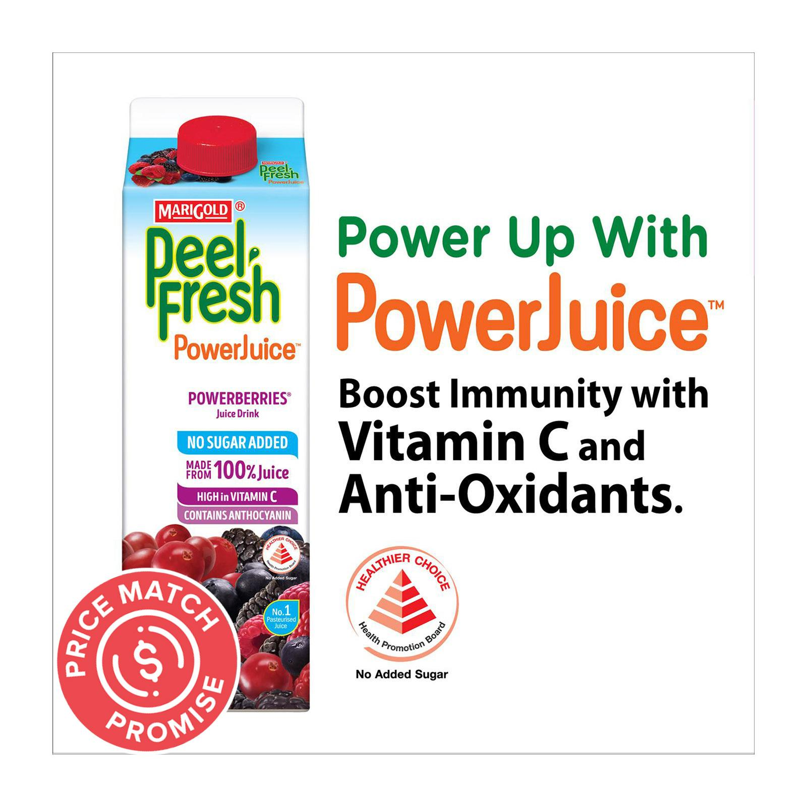 MARIGOLD Peel Fresh No Sugar Added Juice Drink - Powerberries 1L