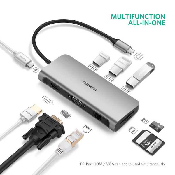 [SG] UGREEN USB C Hub 9-in-1 USB Type C to 4K HDMI Multiport Adapter Dock with VGA, Gigabit Ethernet, PD Charging, 3 USB 3.0 Portsfor MacBook Pro 2020/iPad Pro 2020/SAMSUNG S20+/Microsoft Surface Pro 7, MacBook Air 2020/2018/MacBook Pro 2018