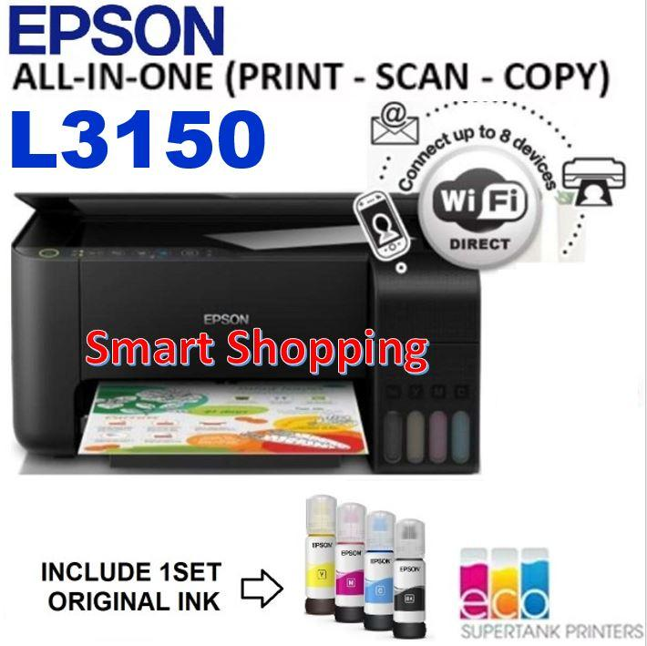 Epson EcoTank L3150 All-in-One Ink Tank Printer Print Scan Copy L 3150  L-3150 Eco Tank Printer uses bottle ink [Eligible to claim for any free  gift by