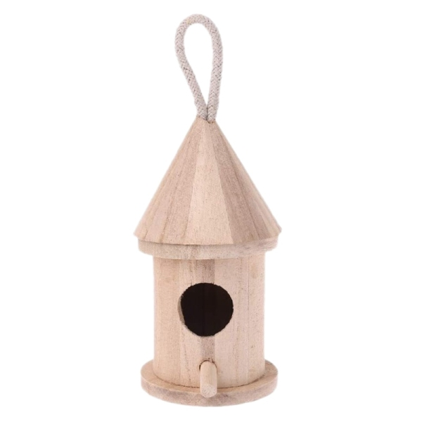 5Pcs Natural Wooden Bird House, Hanging Birdcage,Outdoor Garden Birdcage Diy Wooden Kit Small Birds Nest Decoration