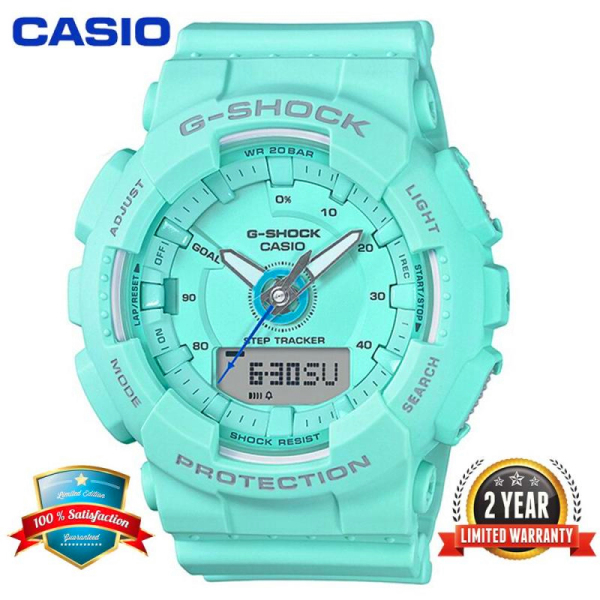 Original Casio G Shock GMAS130 Women Sport Watch Dual Time Display 200M Water Resistant Shockproof and Waterproof World Time LED Light Girl Pedometer Step Tracker Sports Wrist Watches with 2 Year Warranty GMA-S130-2APR Green Malaysia