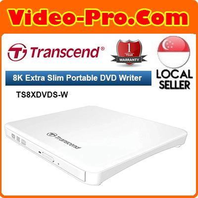 Transcend 8x Extra Slim Portable White DVD Writer Optical Drive (TS8XDVDS-W)