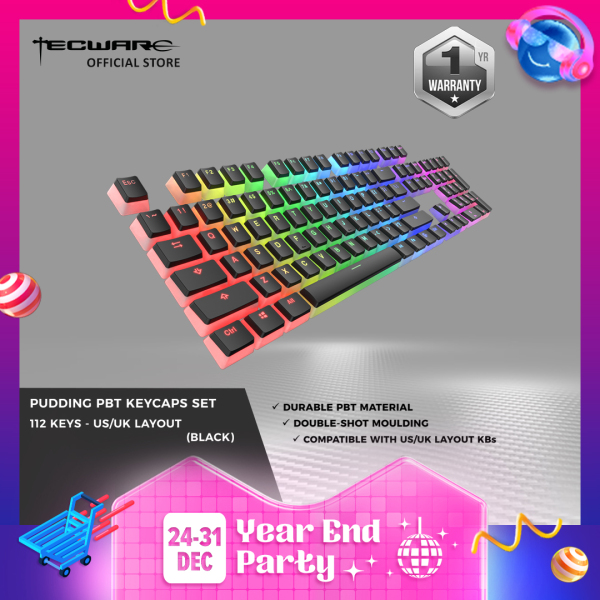Tecware PBT Pudding Keycap Set,  Backlit Shine through Pudding Keycaps , 112pcs [2 Color Options]