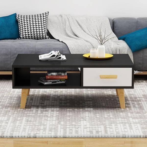 Black Wooden Coffee Table With Drawer
