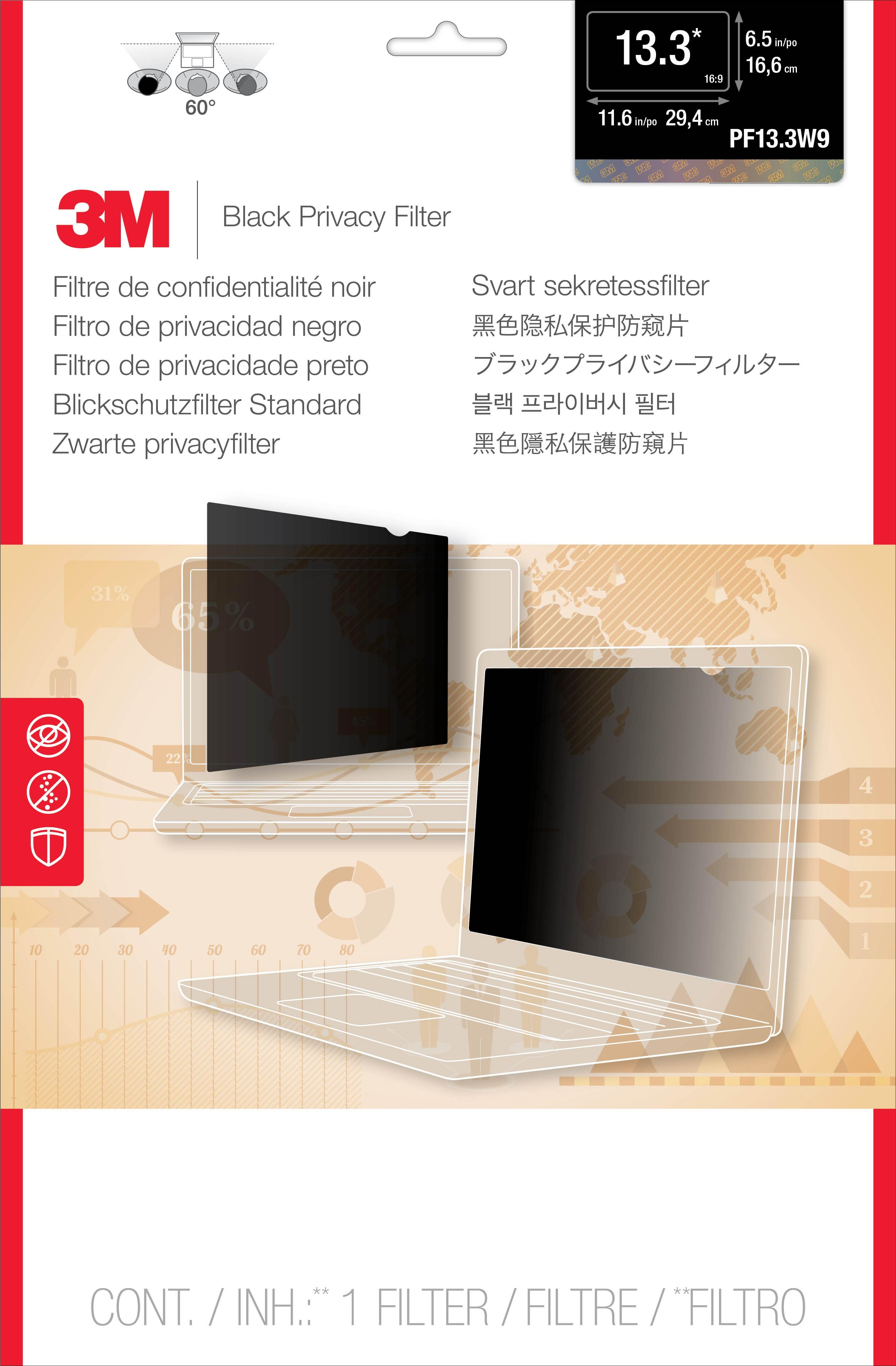 3M Privacy Filter for 13.3 Widescreen Laptop (PF133W9B)