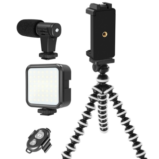 Professional Vlogging Kit Compatible for Ios Android Phone LED Light Microphone Tripod Stand Mount for Live Broadcast thumbnail