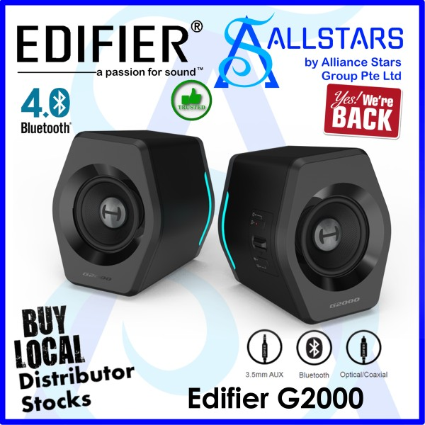 (ALLSTARS : We are Back / Audio / Sound Promo) Edifier G2000 2.0 Gaming Speakers (USB Audio / Bluetooth / 3.5mm) / 16W RMS / RGB) (Warranty 2years with BanLeong)