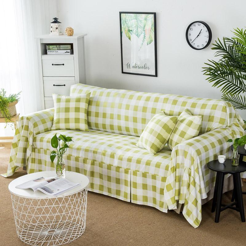 Plaid Sofa Cover All Edges Included Non-Million Can Case Sofa Slipcover Full Cover Simple Sofa Cover Towel Sofa Cover Fabric Universal
