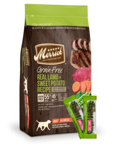 Merrick Grain Free Real Lamb & Sweet Potato Dry Dog Food - 11.3kg (22lbs) + 2 Free Merrick Kisses + Free Repack By Perromart.