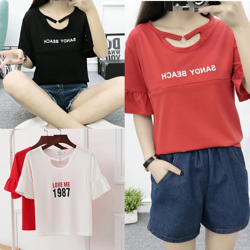 bfba0dcd0d276 Nursing Shirt Summer out Fashion Hot Mom A All-cotton T-shirt Short Sleeve