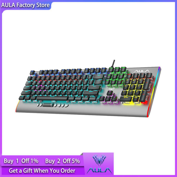 AULA factory store F2099 wired mechanical gaming keyboard crystal switch multimedia buttons full-key anti-ghosting Marco programming metal panel wired LED backlit keyboard suitable for PC gamers Singapore