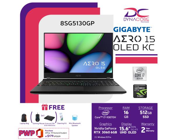 [PRE-ORDER] DYNACORE - Gigabyte AERO 15 OLED KC GeForce RTX 3060 - 15.6 UHD OLED 4K Gaming Laptop   i7-10870H   RTX 3060 GDDR6 6GB   16GB DDR4 (8GBx2)   512GB M.2 PCIe   Win 10 Pro   BAG   AERO 15 OLED KC-8SG5130GP