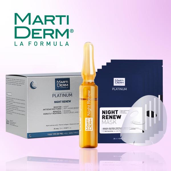Buy MartiDerm Overnight Skin Booster Duo - Night Renew Ampoules 30x2ML (Exp 08/22) FREE Night Renew Mask 5x25ML (Exp 07/21) Singapore