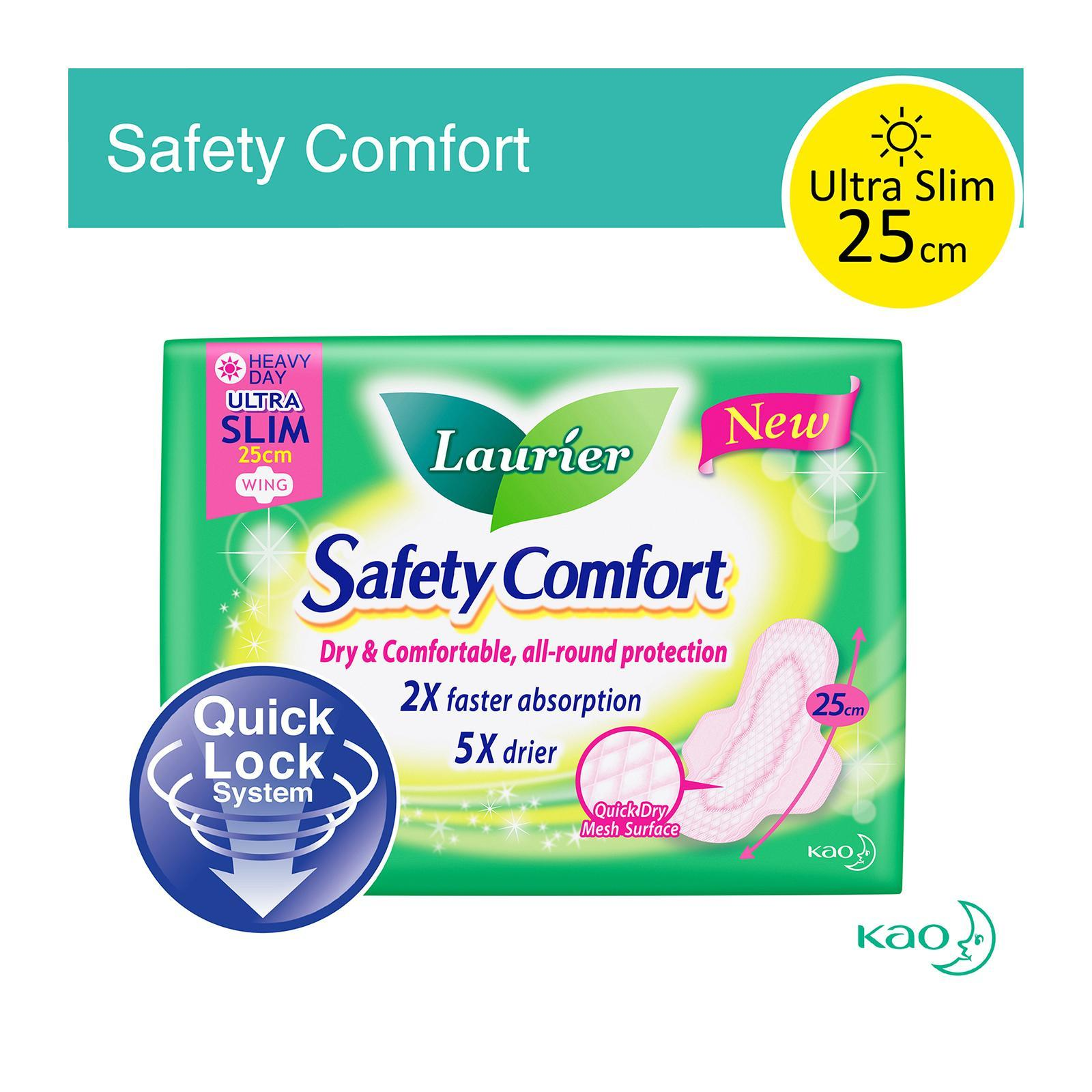 Laurier Safety Comfort Ultra Slim Wing Sanitary Pads 25cm