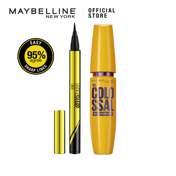 Buy [Bundle of 2] Maybelline Hypersharp Eyeliner 0.01mm Intense Intense Black & Volume Express Colossal Mascara Singapore