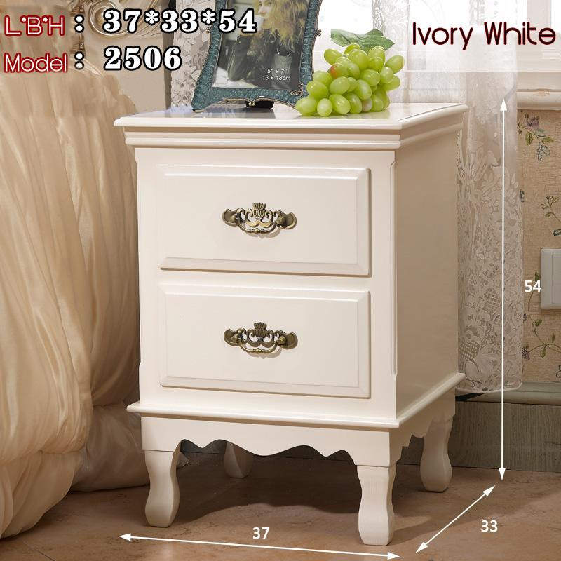 TZGX Wooden Bedside Table European Nordic stylish elegant classy modern fairy tale man woman bed room home owner HDB Condo Ivory white [Delivery Within 3 Weeks]