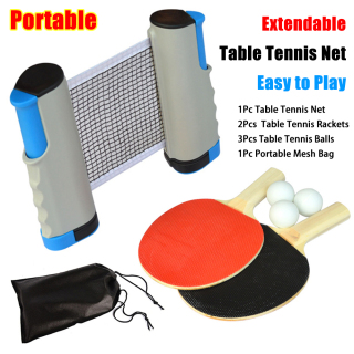 Entertainment Supplies Portable Cover Case Training Accessories 3 Ping-Pong Balls Table Tennis Kits 2 Table Tennis Rackets Extendable Table Tennis Net Ping Pong Paddle Set thumbnail