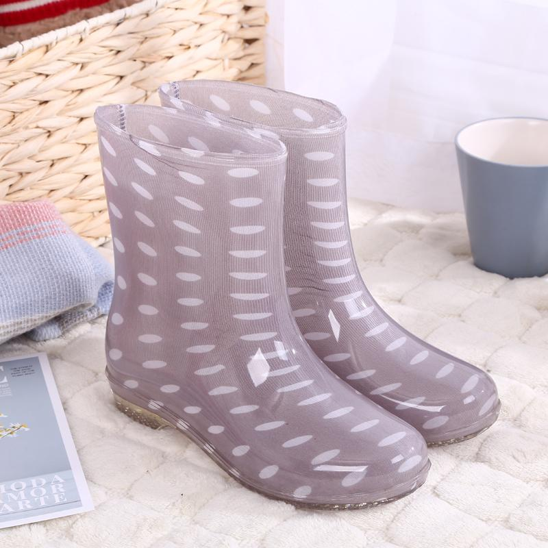 Autumn & Winter Tube Warm Rain Boots Female Anti-Slip Waterproof Rain Boots Female Flat Kitchen Rain Shoes Rubber Boots Womens Shoes Fashion By Taobao Collection.