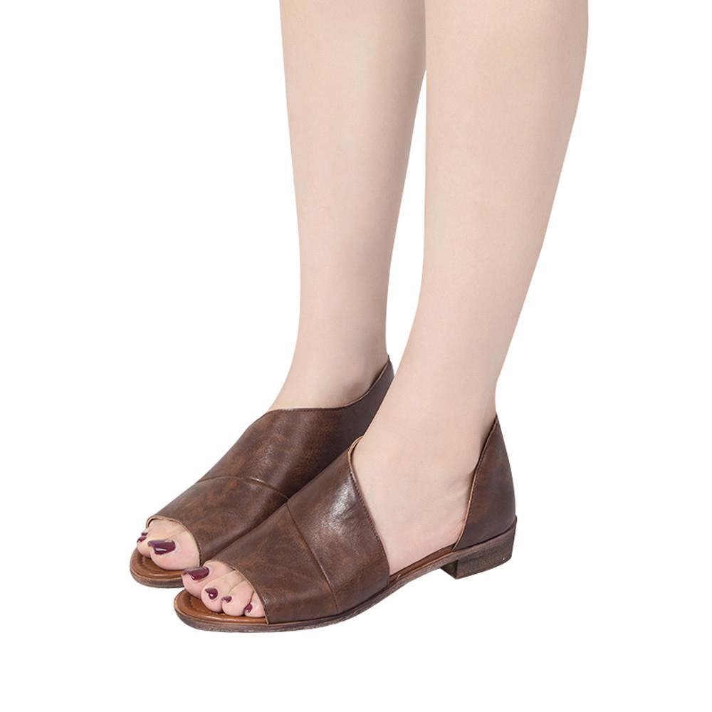 Kohlershop Women Fashion Solid Color Pointed Toe Low Heel Rome Shoes Sandals Free Shipping By Kohlershop.