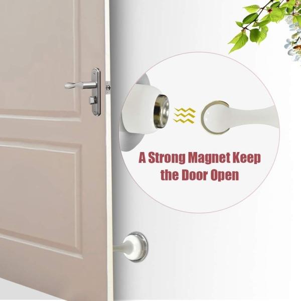Door Stopper, 2 Pack Magnetic Door Stop White, Stainless Steel Door Catch, Double-Sided Self Adhesive Tape, Door Holder Doorstop, No Drilling, Keep Your Door Open