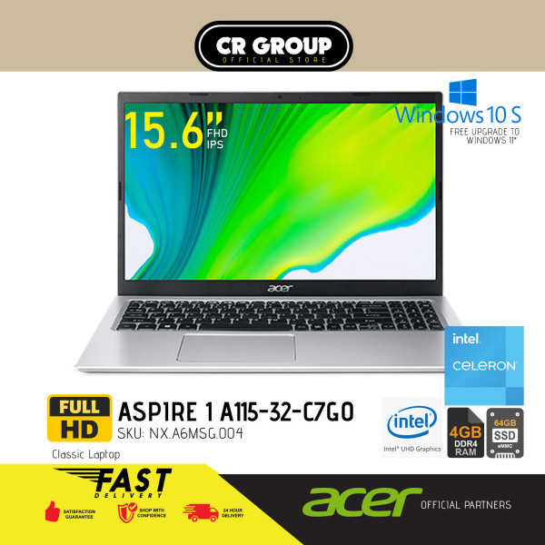 [Same Day Delivery] Acer Aspire 1 Laptop 15 Full HD A115-32-C7G0 | 4GB RAM | 64GB eMMC | Intel UHD Graphics