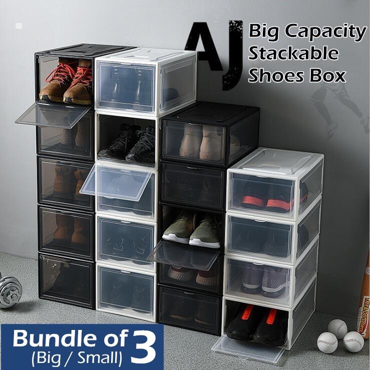 ♦ 3 Boxes Sale ♦ BIG Plastic AJ Yeezy Stackable Shoes Box Storage Rack ♦ Foldable Shoe Cabinet Drawer Shelf