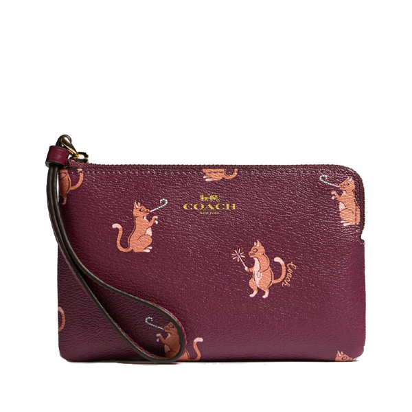 NEW ARRIVAL Coach Corner Zip Small Wristlet With Party Animals Print ( With Coach Gift Box)