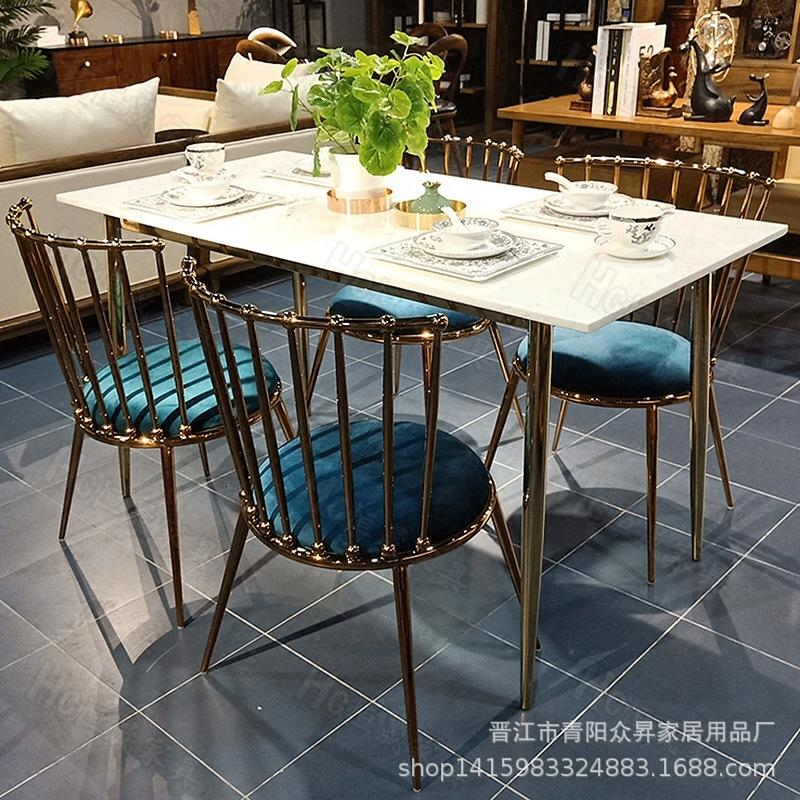 Simple Light Luxury Marble Dining Tables And Chairs Set HYUNDAI Small Apartment Home Tables And Chairs Rectangular Leisure Table