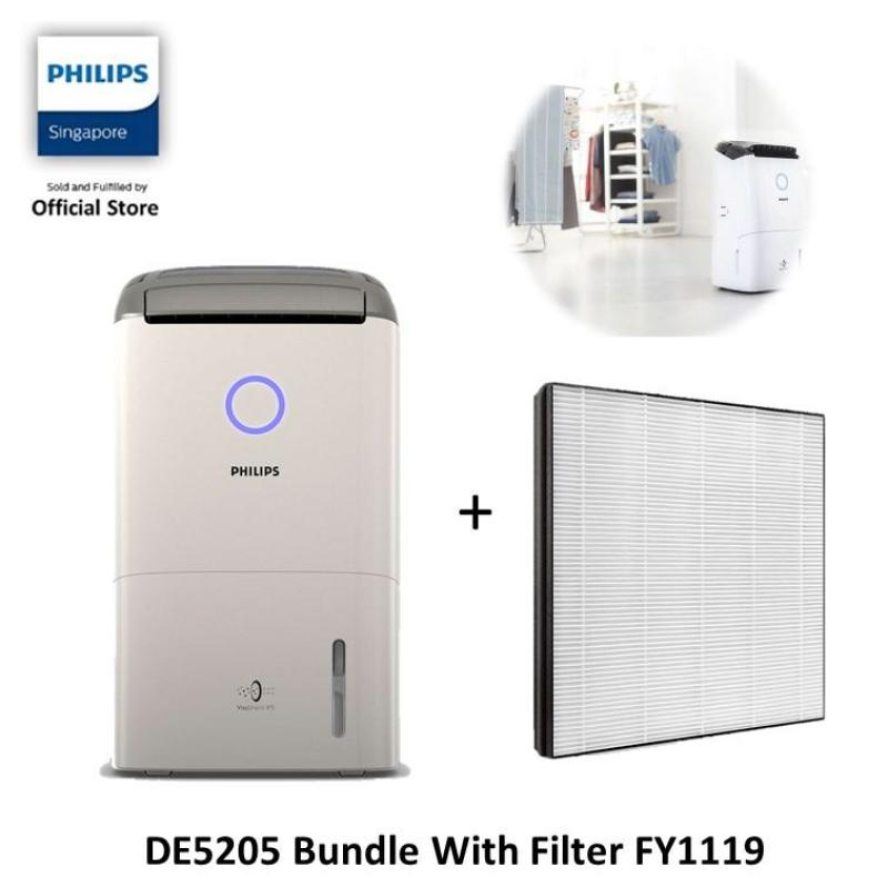 [EXCLUSIVE BUNDLE] Philips 2-in 1 Air Dehumidifier - DE5205/30 with Nano Protect Filter FY1119 Singapore